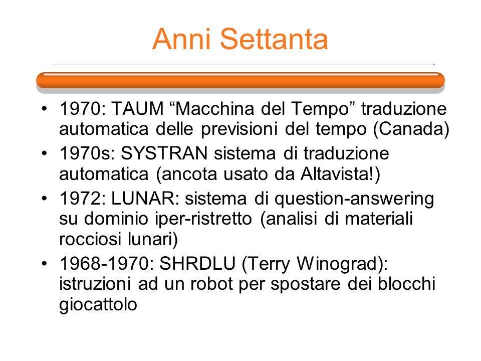 Anni Settanta 1970: TAUM Macchina del Tempo traduzione automatica delle previsioni del tempo (Canada) 1970s: SYSTRAN sistema di traduzione automatica