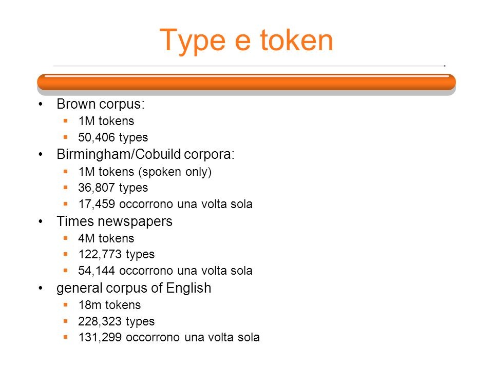Type e token Brown corpus: 1M tokens 50,406 types Birmingham/Cobuild corpora: 1M tokens (spoken only) 36,807 types 17,459 occorrono una volta sola Times newspapers 4M tokens 122,773 types 54,144 occorrono una volta sola general corpus of English 18m tokens 228,323 types 131,299 occorrono una volta sola