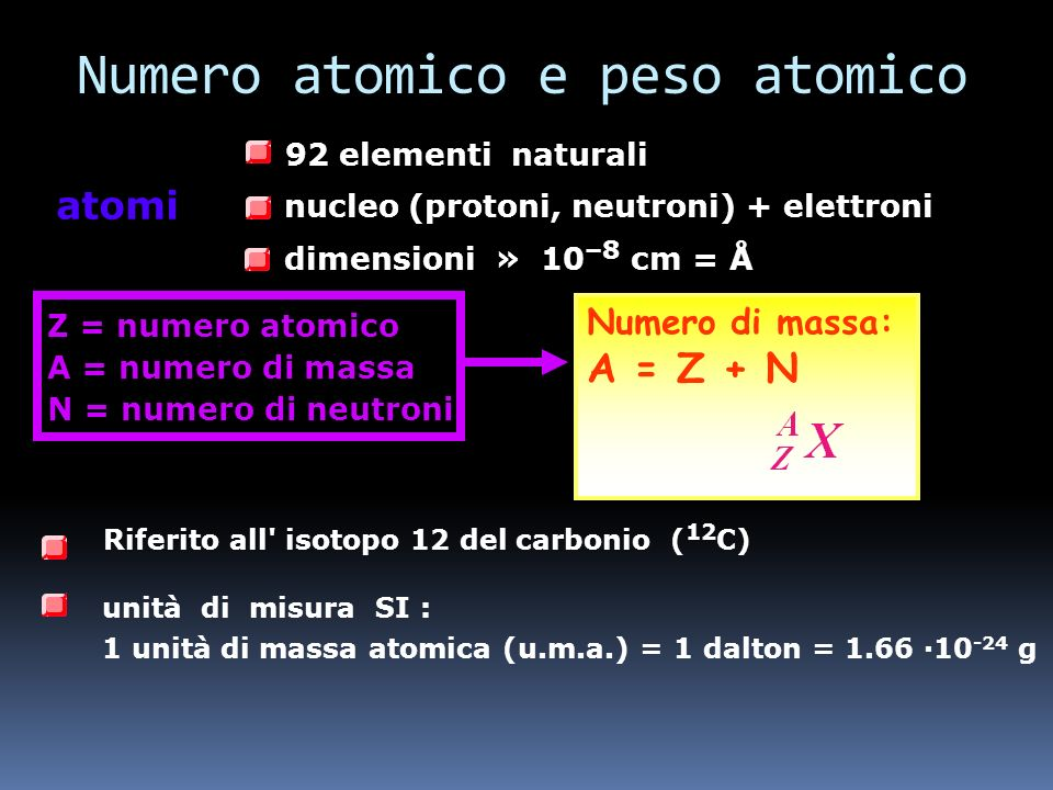 R atomo 10 5 R nucleo R nucleo 10 -15 m = 1 fm R atomo 10 -10 m = 1 Å Z protoni m p = 1.673 10 -27 kg q = +e = 1.6 10 -19 C N neutroni m n = 1.675 10