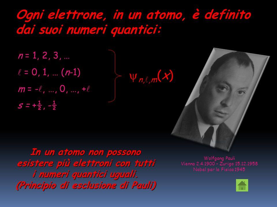 Numero quantico di spin NS Un elettrone possiede un numero quantico di campo magnetico di spin, che può avere solo due valori, s = + ½ e s = - ½. Una
