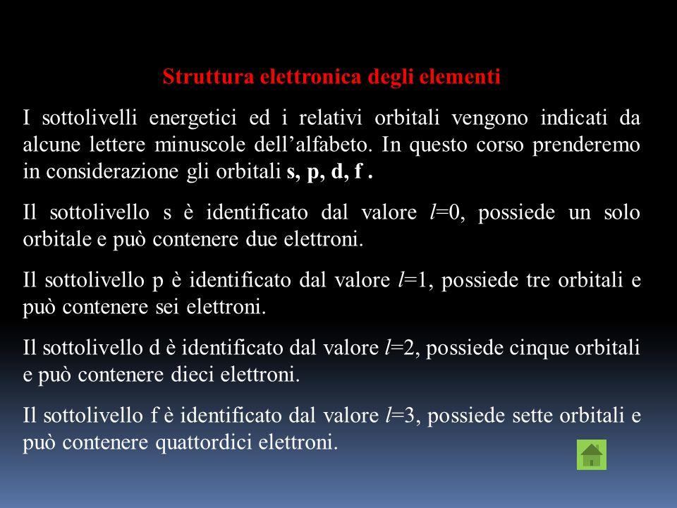I numeri quantici sono: n - numero quantico principale, indica il livello energetico e le dimensioni degli orbitali. Insieme ad l determina lenergia d