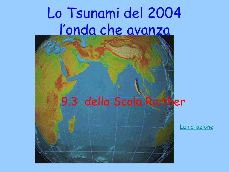 Lo Tsunami del 2004 londa che avanza 9.3 della Scala Ricther La rotazione