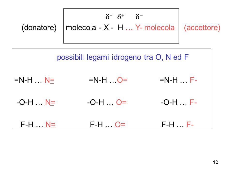 12 (donatore) molecola - X - H … Y- molecola (accettore) possibili legami idrogeno tra O, N ed F =N-H … N= =N-H …O= =N-H … F- -O-H … N= -O-H … O= -O-H
