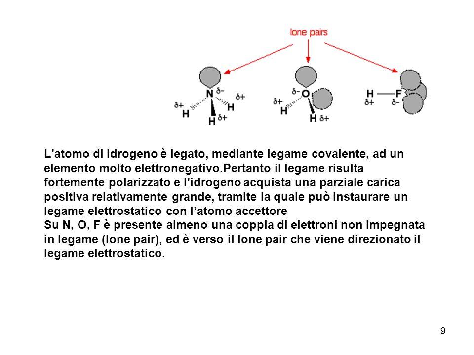 9 L'atomo di idrogeno è legato, mediante legame covalente, ad un elemento molto elettronegativo.Pertanto il legame risulta fortemente polarizzato e l'