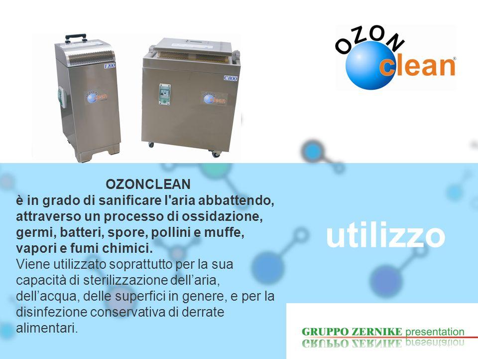 utilizzo OZONCLEAN è in grado di sanificare l'aria abbattendo, attraverso un processo di ossidazione, germi, batteri, spore, pollini e muffe, vapori e