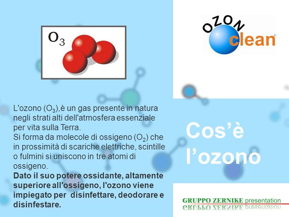 L'ozono (O 3 ),è un gas presente in natura negli strati alti dell'atmosfera essenziale per vita sulla Terra. Si forma da molecole di ossigeno (O 2 ) c