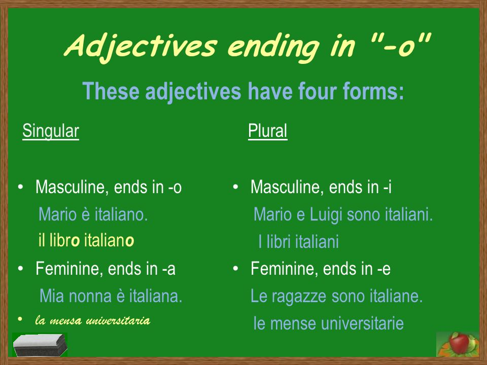 Adjectives ending in