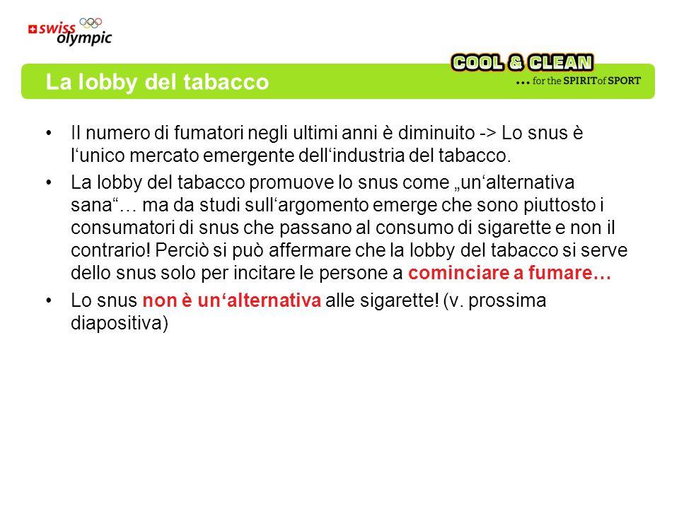 Il numero di fumatori negli ultimi anni è diminuito -> Lo snus è lunico mercato emergente dellindustria del tabacco. La lobby del tabacco promuove lo