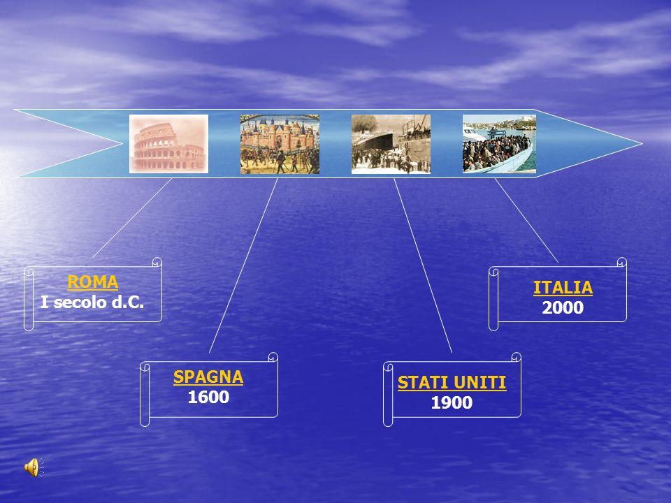 ROMA I secolo d.C. SPAGNA 1600 STATI UNITI 1900 ITALIA 2000