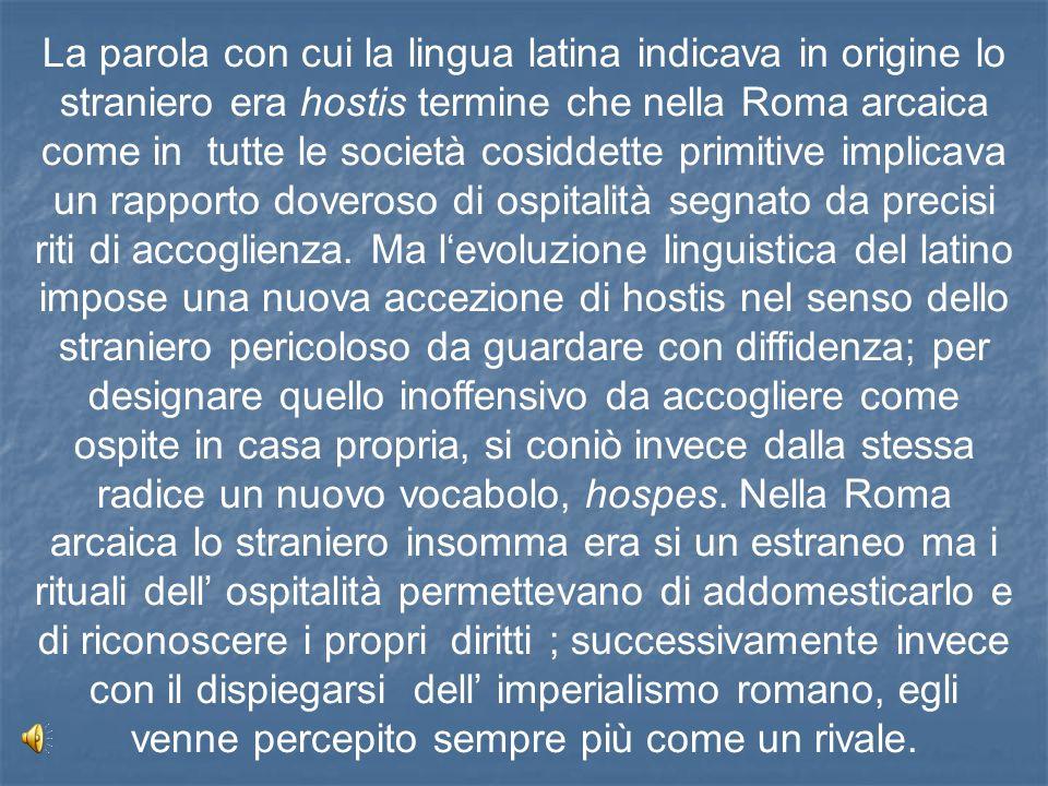 La parola con cui la lingua latina indicava in origine lo straniero era hostis termine che nella Roma arcaica come in tutte le società cosiddette prim