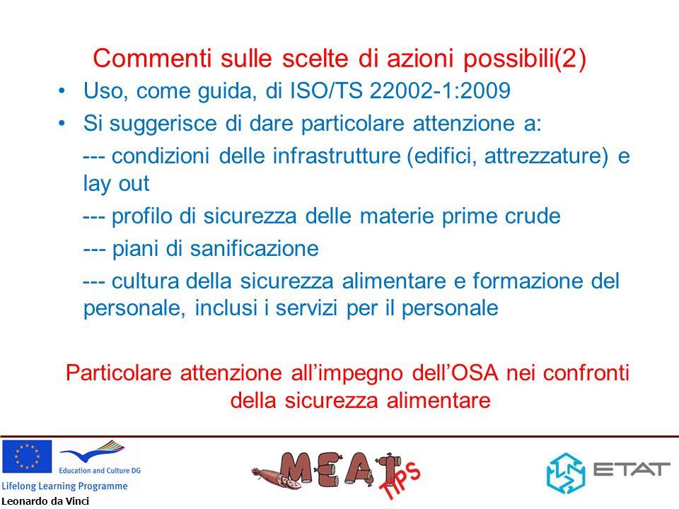 Leonardo da Vinci Commenti sulle scelte di azioni possibili(2) Uso, come guida, di ISO/TS 22002-1:2009 Si suggerisce di dare particolare attenzione a: