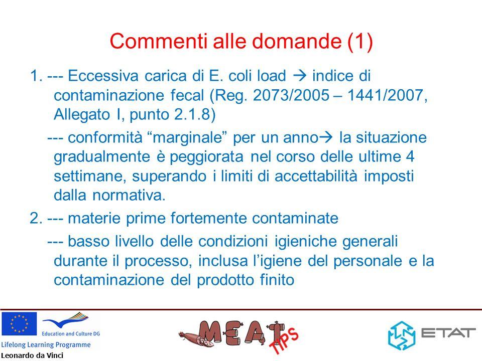 Leonardo da Vinci Commenti alle domande (1) 1. --- Eccessiva carica di E. coli load indice di contaminazione fecal (Reg. 2073/2005 – 1441/2007, Allega