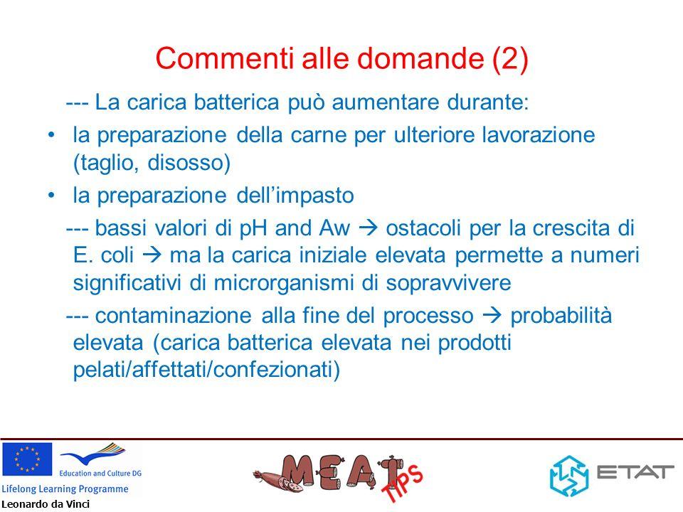 Leonardo da Vinci Commenti alle domande (2) --- La carica batterica può aumentare durante: la preparazione della carne per ulteriore lavorazione (tagl