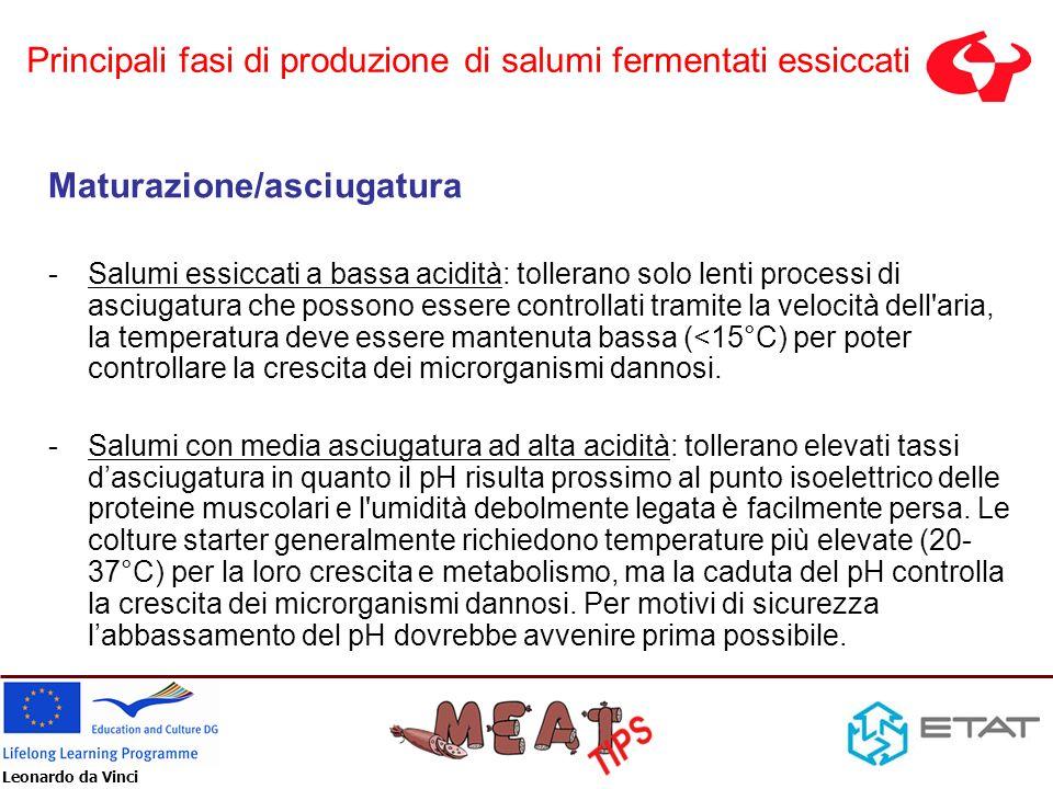 Leonardo da Vinci Maturazione/asciugatura Uno dei principali fattori inibitori dei microrganismi patogeni ed alteranti è un valore basso dellattività dellacqua (A w ).
