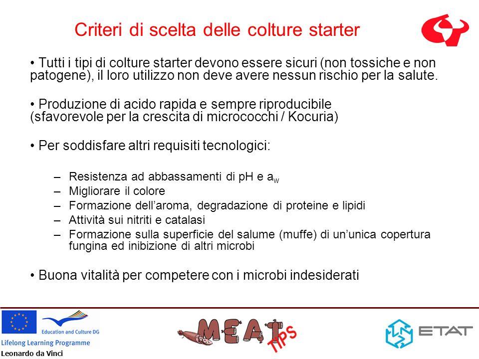 Leonardo da Vinci Criteri di scelta delle colture starter Tutti i tipi di colture starter devono essere sicuri (non tossiche e non patogene), il loro