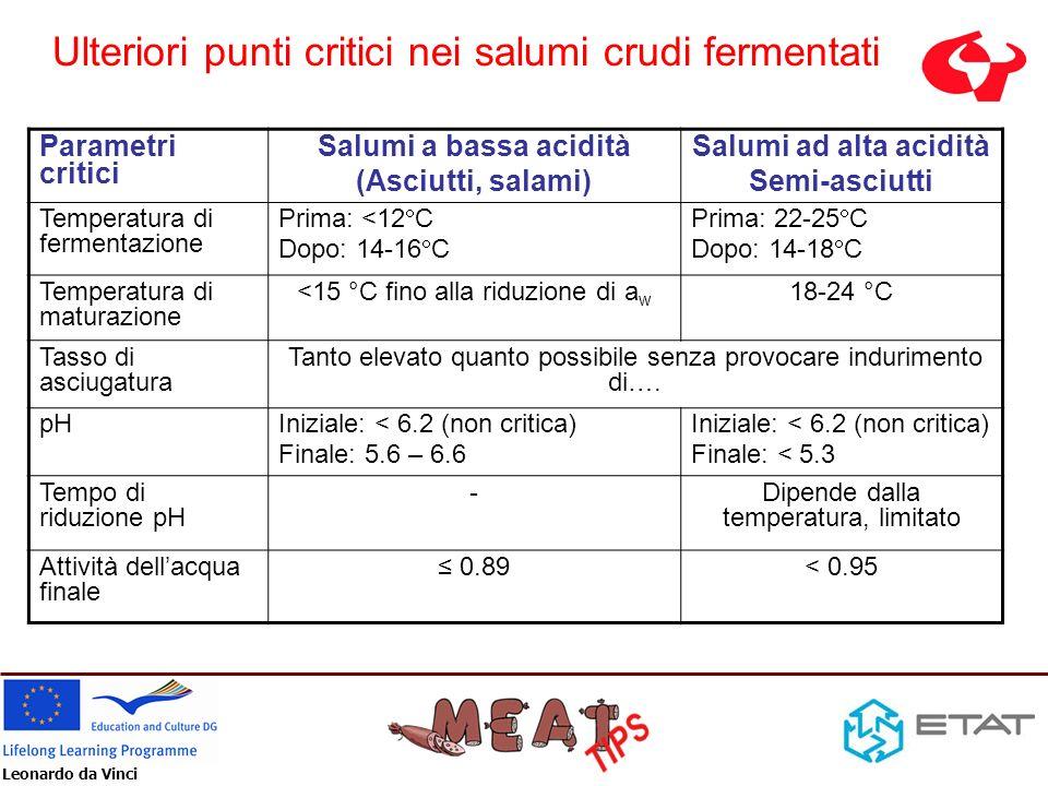 Leonardo da Vinci Parametri critici Salumi a bassa acidità (Asciutti, salami) Salumi ad alta acidità Semi-asciutti Temperatura di fermentazione Prima: