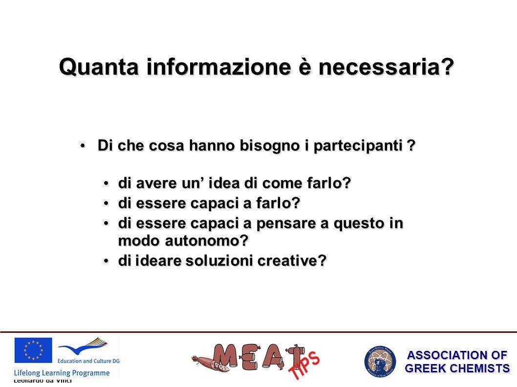 Leonardo da Vinci ASSOCIATION OF GREEK CHEMISTS Di che cosa hanno bisogno i partecipanti .