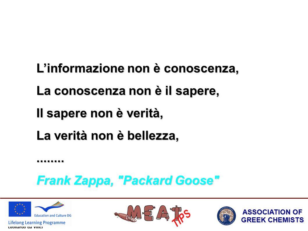 Leonardo da Vinci ASSOCIATION OF GREEK CHEMISTS Linformazione non è conoscenza, La conoscenza non è il sapere, Il sapere non è verità, La verità non è bellezza,........
