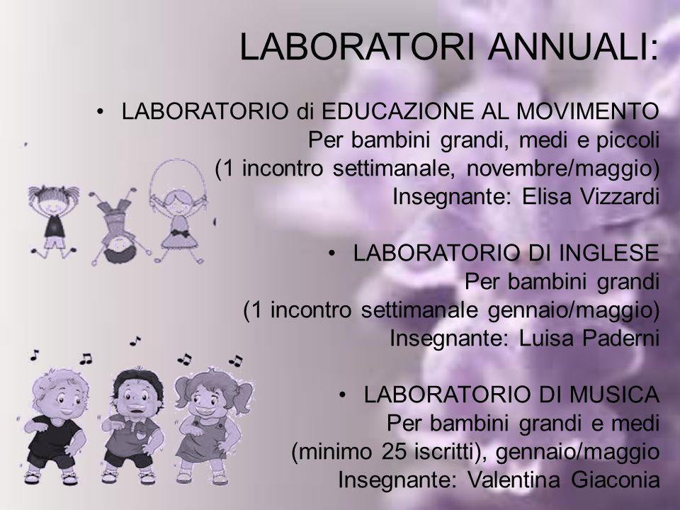 LABORATORI ANNUALI: LABORATORIO di EDUCAZIONE AL MOVIMENTO Per bambini grandi, medi e piccoli (1 incontro settimanale, novembre/maggio) Insegnante: El