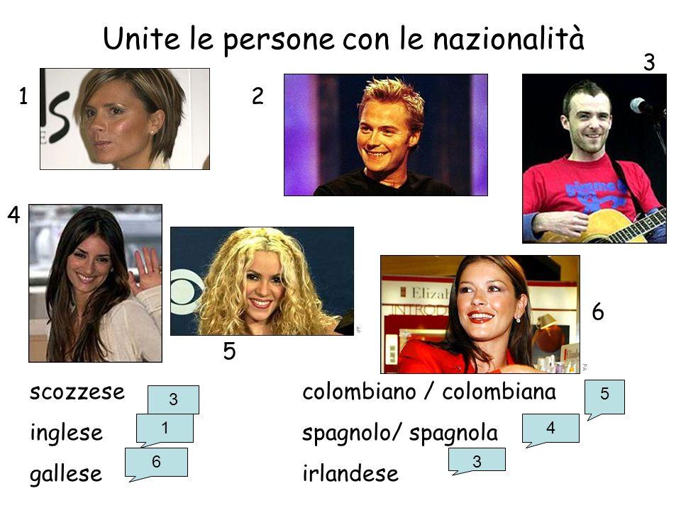 Unite le persone con le nazionalità scozzesecolombiano / colombiana inglese spagnolo/ spagnola galleseirlandese 12 3 4 5 6 3 1 6 5 4 3