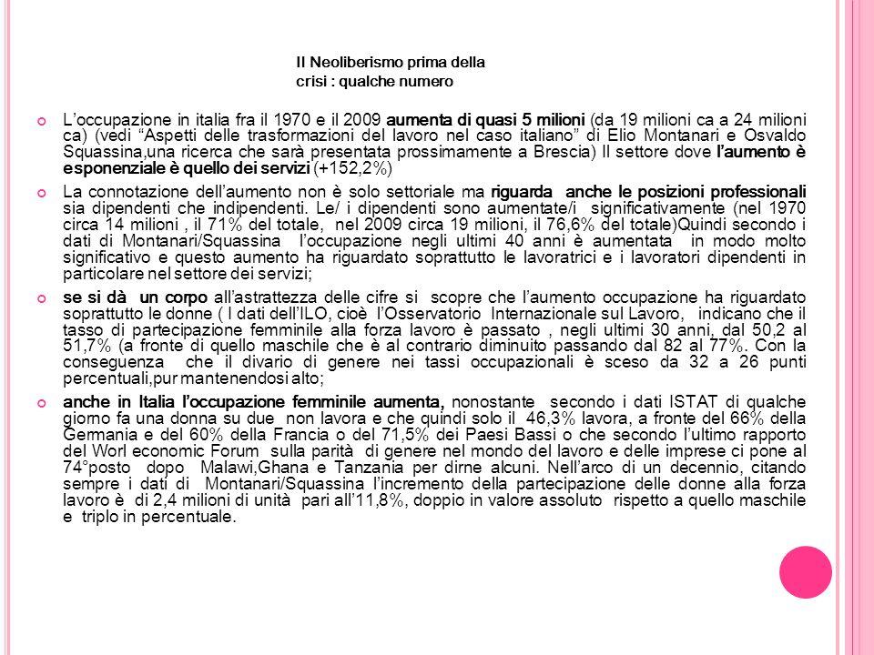 Il Neoliberismo prima della crisi : qualche numero Loccupazione in italia fra il 1970 e il 2009 aumenta di quasi 5 milioni (da 19 milioni ca a 24 milioni ca) (vedi Aspetti delle trasformazioni del lavoro nel caso italiano di Elio Montanari e Osvaldo Squassina,una ricerca che sarà presentata prossimamente a Brescia) Il settore dove laumento è esponenziale è quello dei servizi (+152,2%) La connotazione dellaumento non è solo settoriale ma riguarda anche le posizioni professionali sia dipendenti che indipendenti.