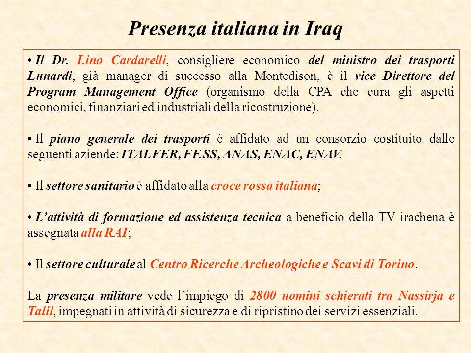 Presenza italiana in Iraq Il Dr. Lino Cardarelli, consigliere economico del ministro dei trasporti Lunardi, già manager di successo alla Montedison, è
