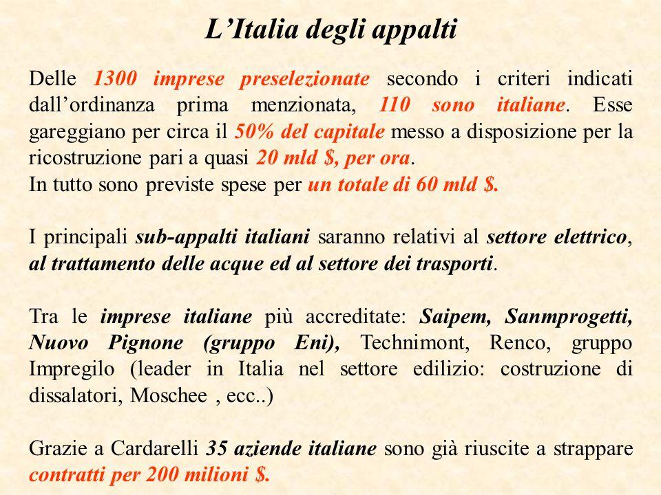 LItalia degli appalti Delle 1300 imprese preselezionate secondo i criteri indicati dallordinanza prima menzionata, 110 sono italiane. Esse gareggiano