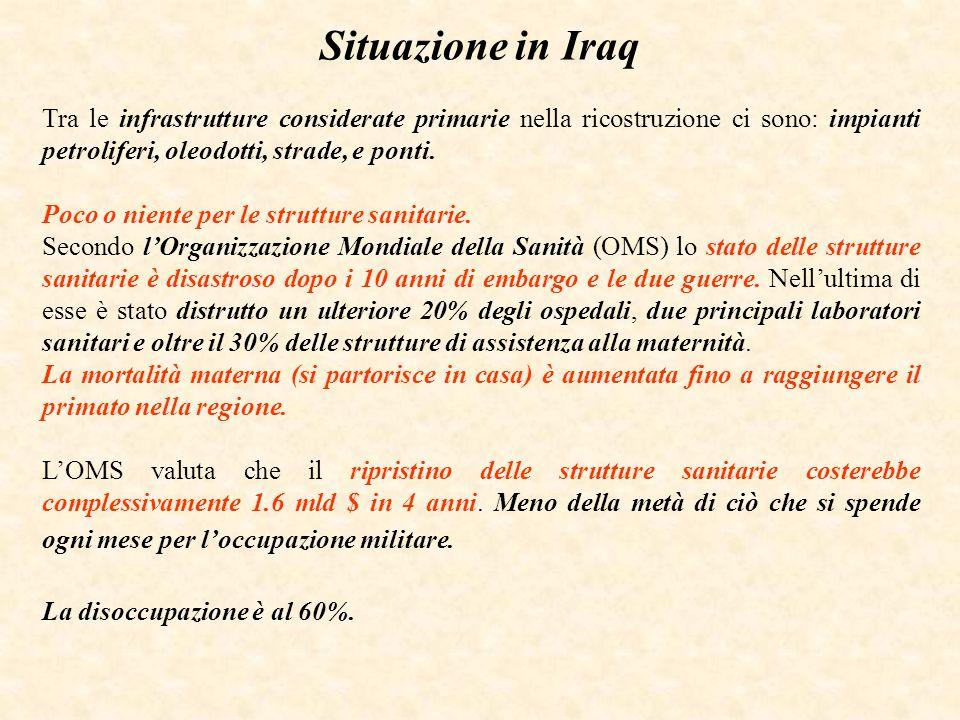 Situazione in Iraq Tra le infrastrutture considerate primarie nella ricostruzione ci sono: impianti petroliferi, oleodotti, strade, e ponti. Poco o ni