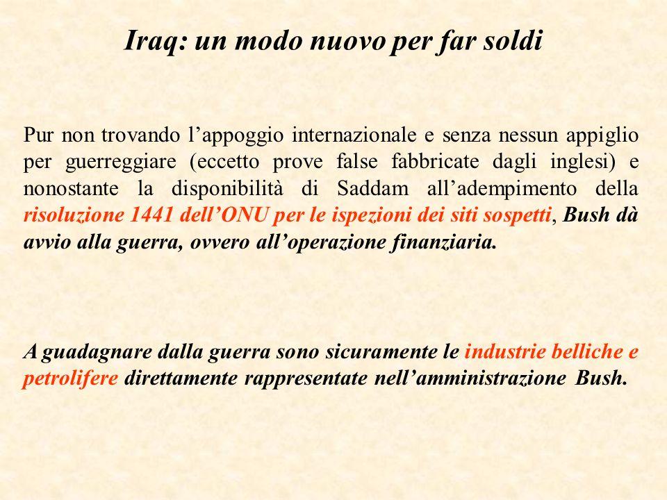 Iraq: un modo nuovo per far soldi Pur non trovando lappoggio internazionale e senza nessun appiglio per guerreggiare (eccetto prove false fabbricate d