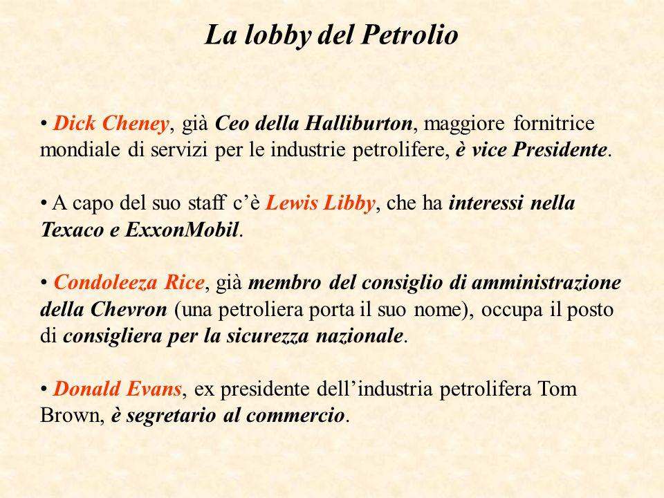 La lobby del Petrolio Dick Cheney, già Ceo della Halliburton, maggiore fornitrice mondiale di servizi per le industrie petrolifere, è vice Presidente.
