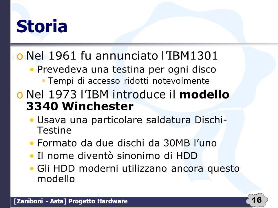 16 [Zaniboni - Asta] Progetto Hardware Storia oNel 1961 fu annunciato lIBM1301 Prevedeva una testina per ogni disco Tempi di accesso ridotti notevolme
