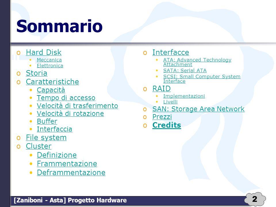 2 [Zaniboni - Asta] Progetto Hardware Sommario oHard DiskHard Disk Meccanica Elettronica oStoriaStoria oCaratteristicheCaratteristiche Capacità Tempo
