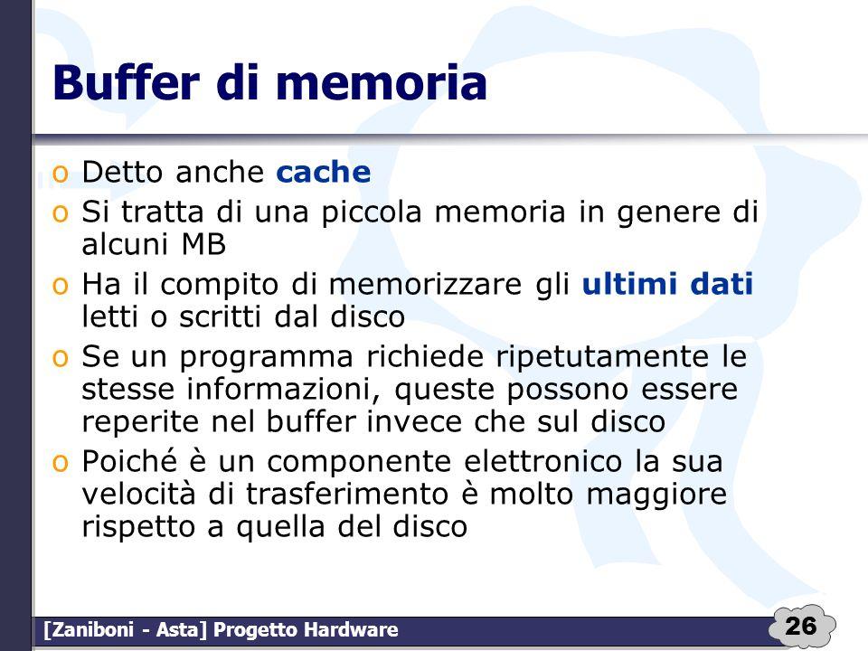 26 [Zaniboni - Asta] Progetto Hardware Buffer di memoria oDetto anche cache oSi tratta di una piccola memoria in genere di alcuni MB oHa il compito di