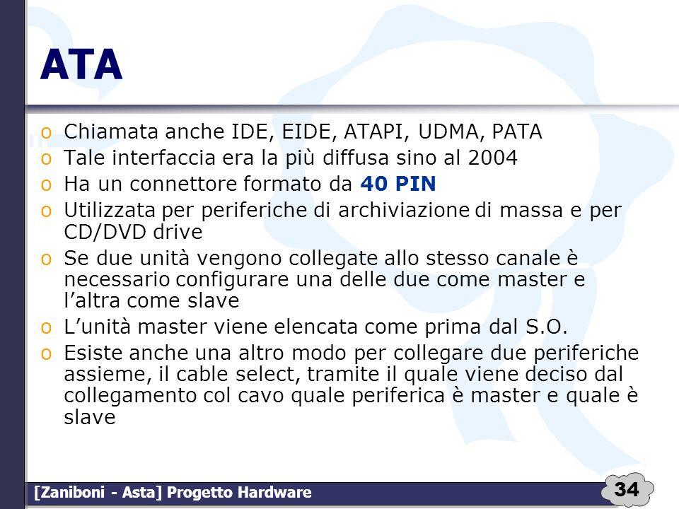 34 [Zaniboni - Asta] Progetto Hardware ATA oChiamata anche IDE, EIDE, ATAPI, UDMA, PATA oTale interfaccia era la più diffusa sino al 2004 oHa un conne