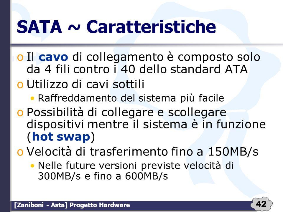 42 [Zaniboni - Asta] Progetto Hardware SATA ~ Caratteristiche oIl cavo di collegamento è composto solo da 4 fili contro i 40 dello standard ATA oUtili