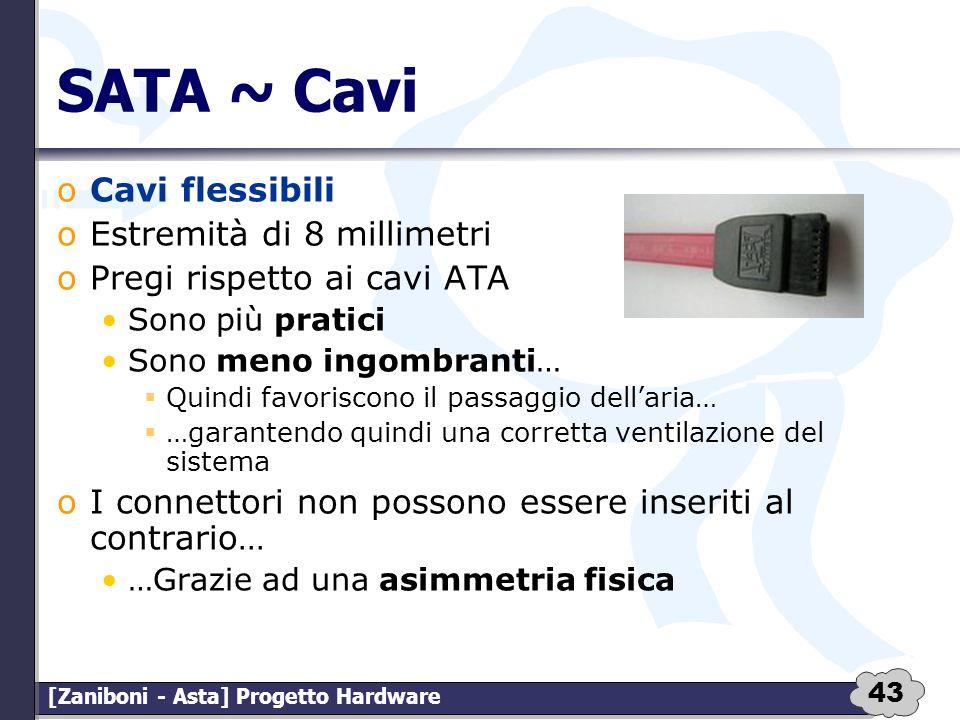 43 [Zaniboni - Asta] Progetto Hardware SATA ~ Cavi oCavi flessibili oEstremità di 8 millimetri oPregi rispetto ai cavi ATA Sono più pratici Sono meno