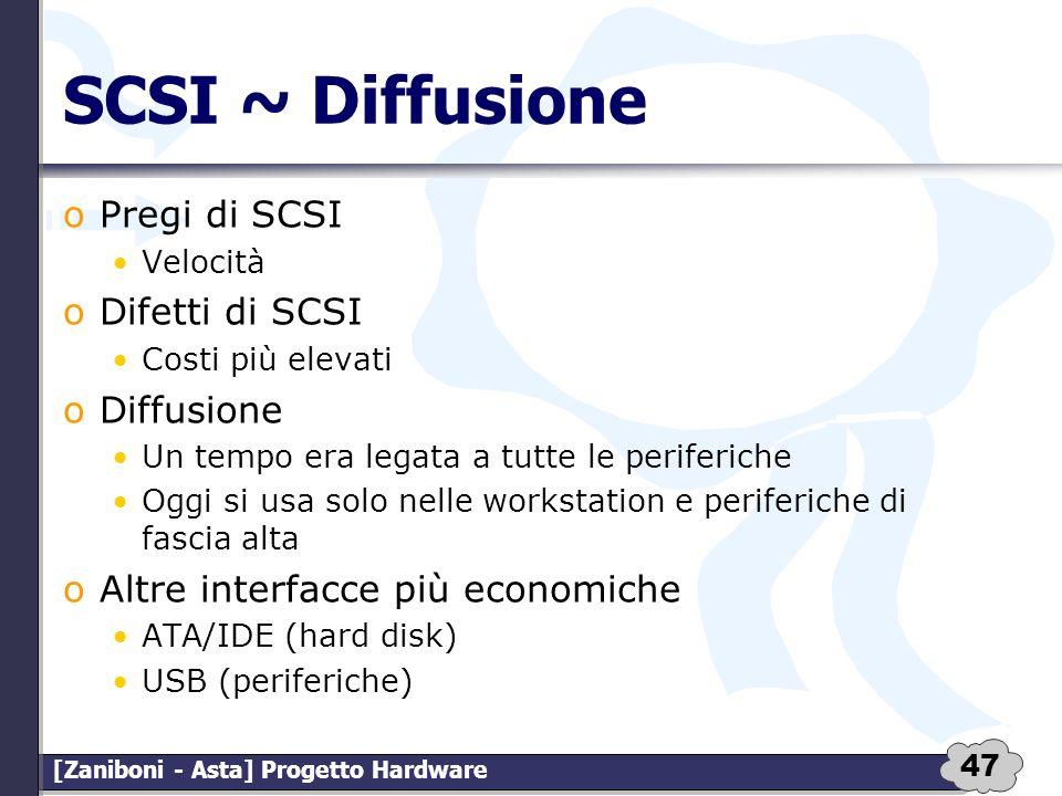 47 [Zaniboni - Asta] Progetto Hardware SCSI ~ Diffusione oPregi di SCSI Velocità oDifetti di SCSI Costi più elevati oDiffusione Un tempo era legata a