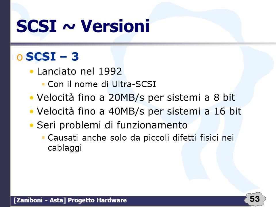 53 [Zaniboni - Asta] Progetto Hardware SCSI ~ Versioni oSCSI – 3 Lanciato nel 1992 Con il nome di Ultra-SCSI Velocità fino a 20MB/s per sistemi a 8 bi