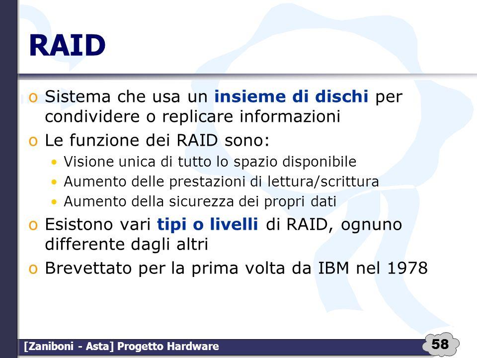 58 [Zaniboni - Asta] Progetto Hardware RAID oSistema che usa un insieme di dischi per condividere o replicare informazioni oLe funzione dei RAID sono: