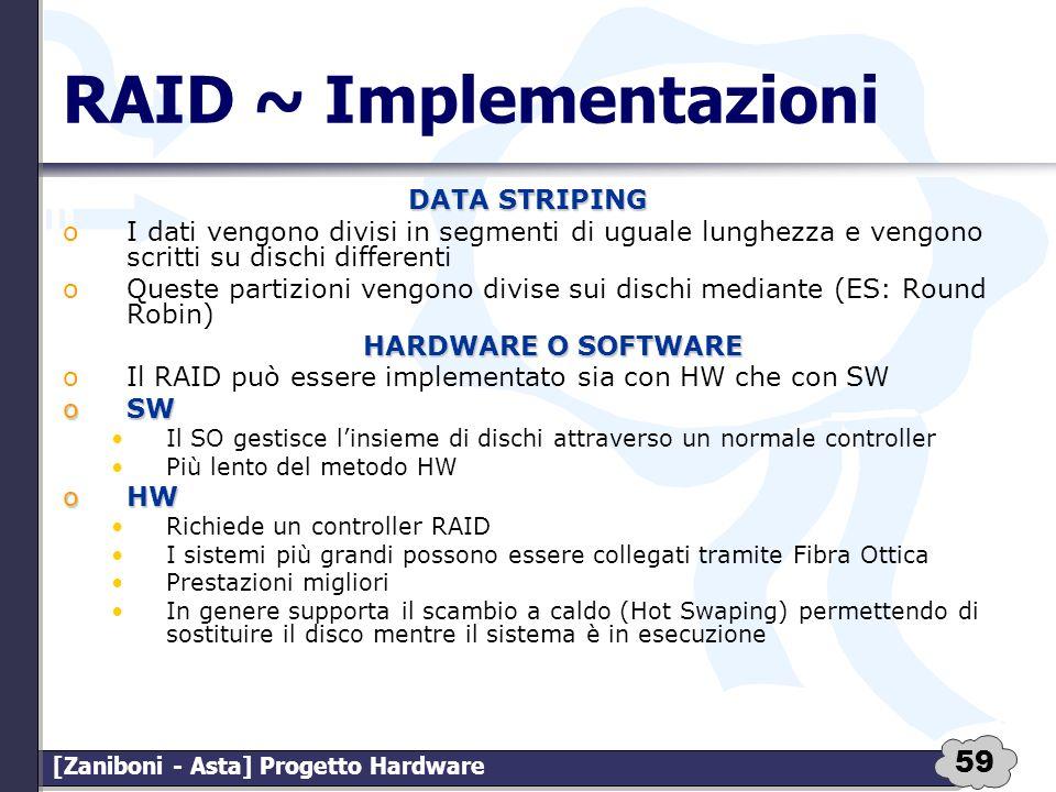 59 [Zaniboni - Asta] Progetto Hardware RAID ~ Implementazioni DATA STRIPING oI dati vengono divisi in segmenti di uguale lunghezza e vengono scritti s