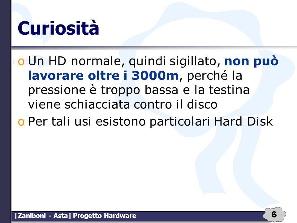6 [Zaniboni - Asta] Progetto Hardware Curiosità oUn HD normale, quindi sigillato, non può lavorare oltre i 3000m, perché la pressione è troppo bassa e