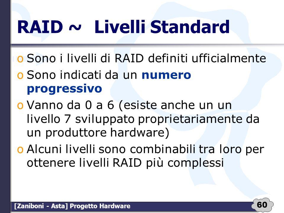 60 [Zaniboni - Asta] Progetto Hardware RAID ~Livelli Standard oSono i livelli di RAID definiti ufficialmente oSono indicati da un numero progressivo o