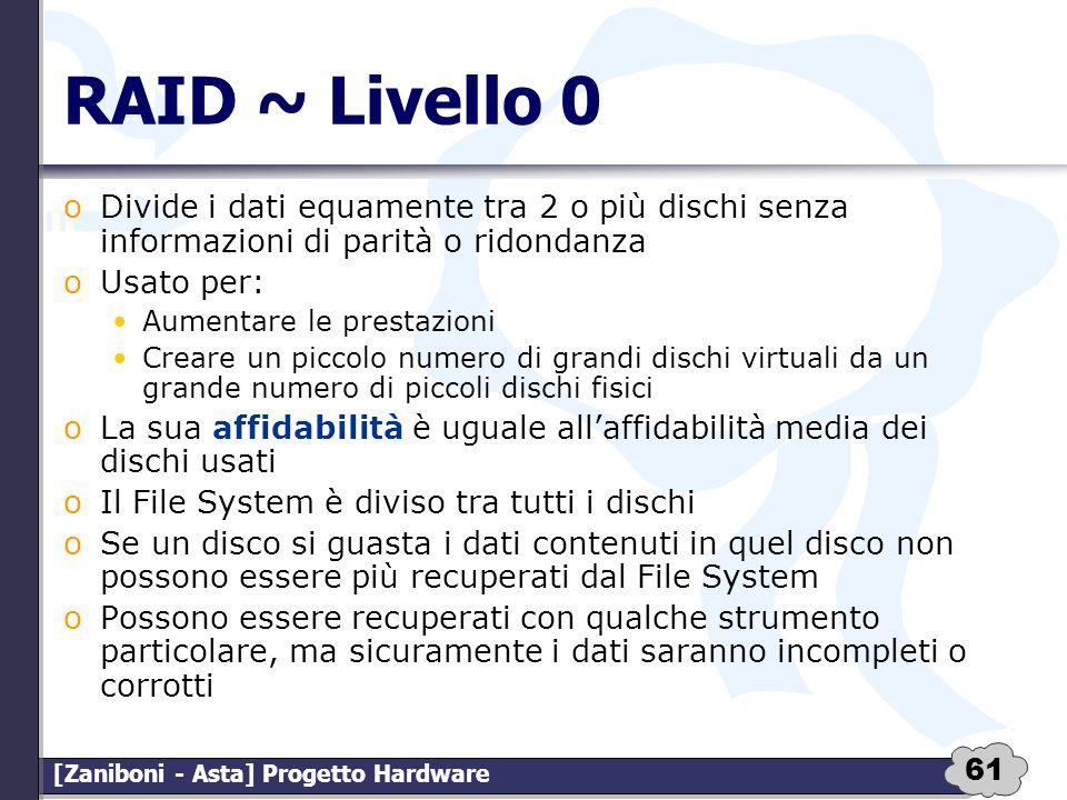 61 [Zaniboni - Asta] Progetto Hardware RAID ~ Livello 0 oDivide i dati equamente tra 2 o più dischi senza informazioni di parità o ridondanza oUsato p
