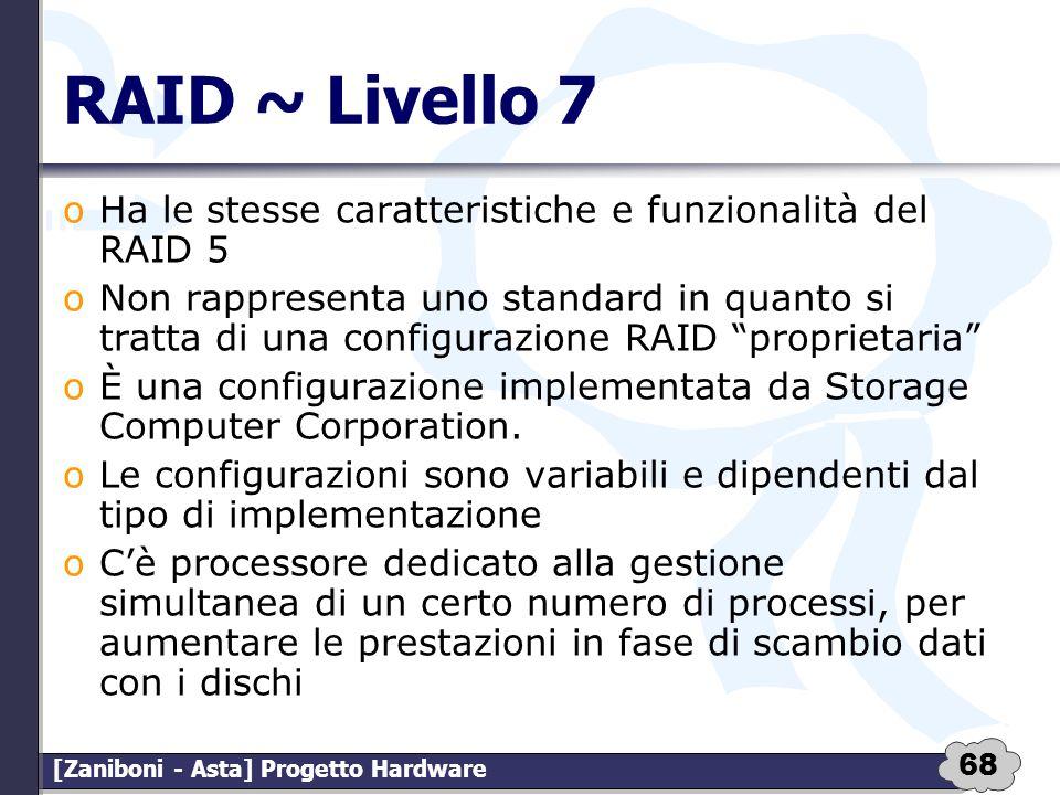 68 [Zaniboni - Asta] Progetto Hardware RAID ~ Livello 7 oHa le stesse caratteristiche e funzionalità del RAID 5 oNon rappresenta uno standard in quant