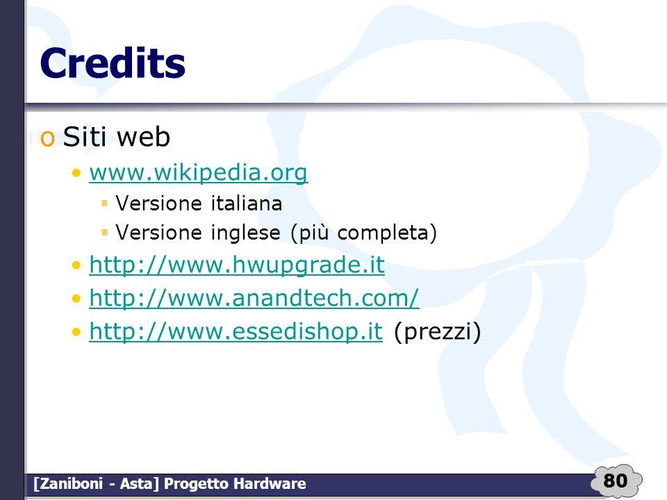 80 [Zaniboni - Asta] Progetto Hardware Credits oSiti web www.wikipedia.org Versione italiana Versione inglese (più completa) http://www.hwupgrade.it h