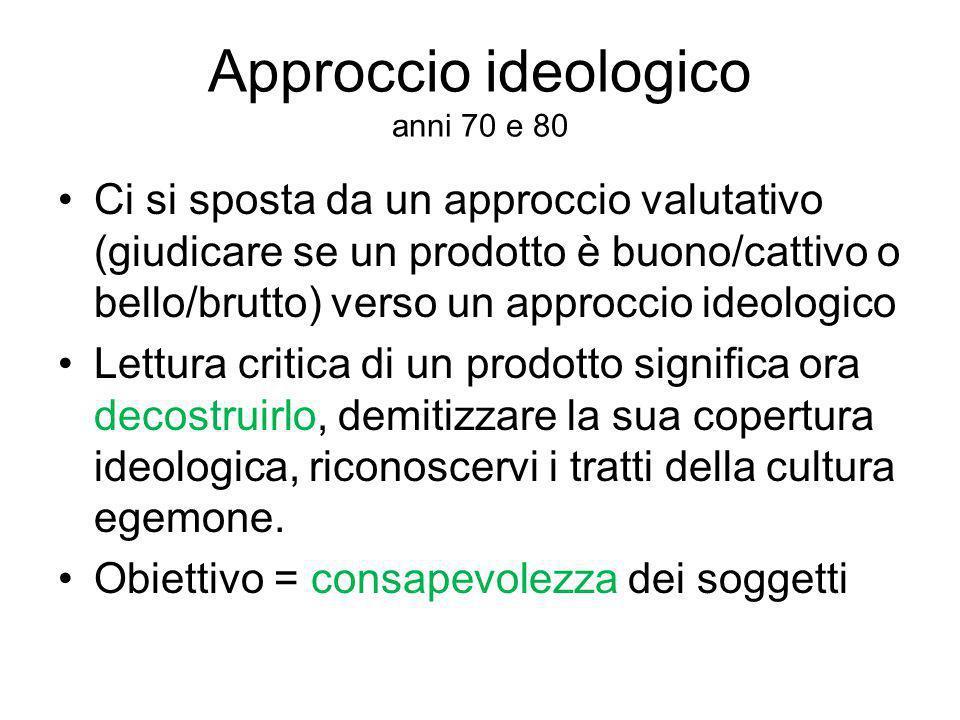 Approccio ideologico anni 70 e 80 Ci si sposta da un approccio valutativo (giudicare se un prodotto è buono/cattivo o bello/brutto) verso un approccio