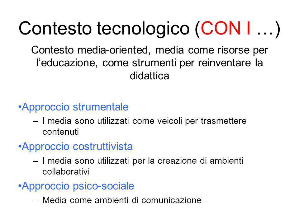 Contesto media-oriented, media come risorse per leducazione, come strumenti per reinventare la didattica Approccio strumentale –I media sono utilizzat