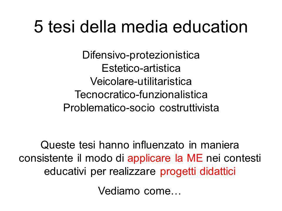 5 tesi della media education Difensivo-protezionistica Estetico-artistica Veicolare-utilitaristica Tecnocratico-funzionalistica Problematico-socio cos