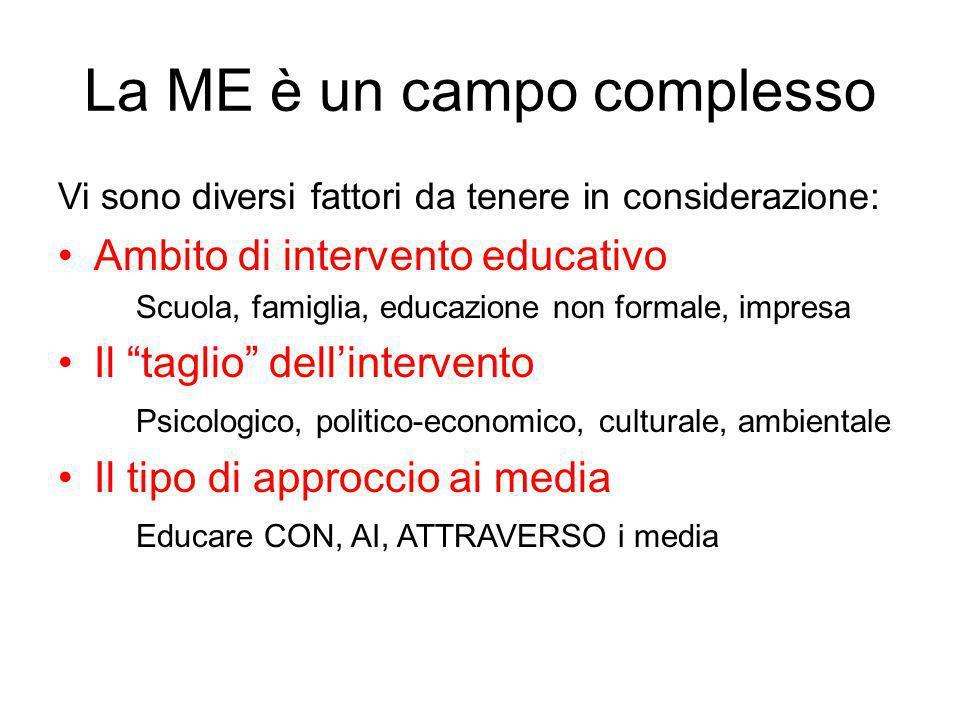 La ME è un campo complesso Vi sono diversi fattori da tenere in considerazione: Ambito di intervento educativo Scuola, famiglia, educazione non formal