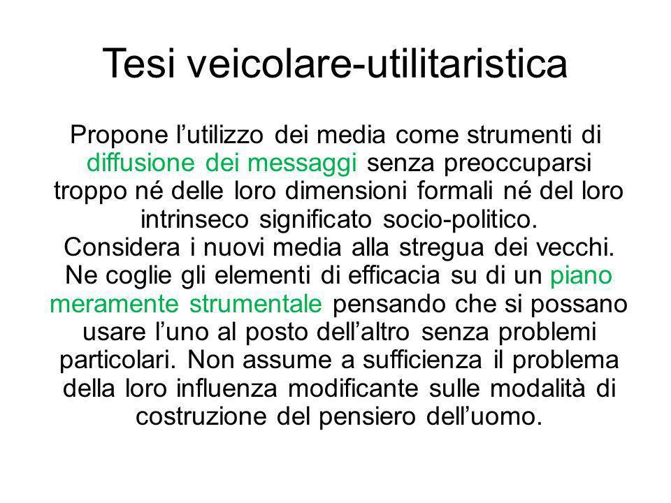 Tesi veicolare-utilitaristica Propone lutilizzo dei media come strumenti di diffusione dei messaggi senza preoccuparsi troppo né delle loro dimensioni